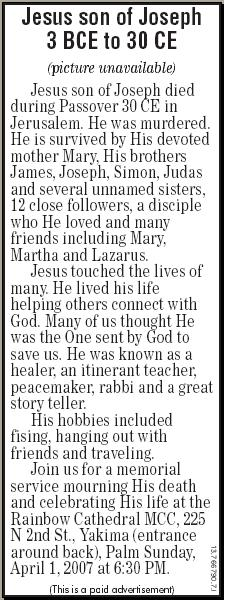 Jesus Obituary