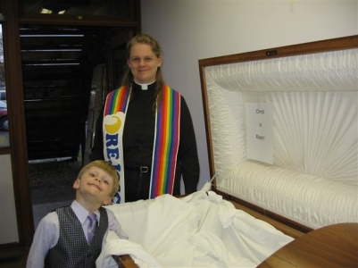 Jane & Orion at Jesus' empty coffin